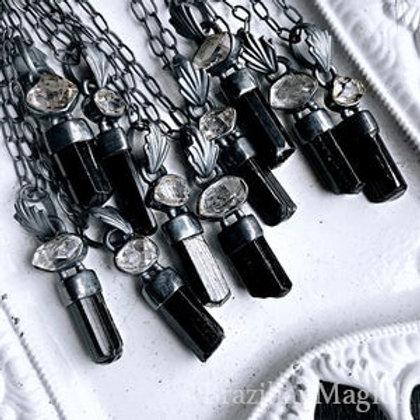 Black Tourmaline & Herkimer Diamond Necklace
