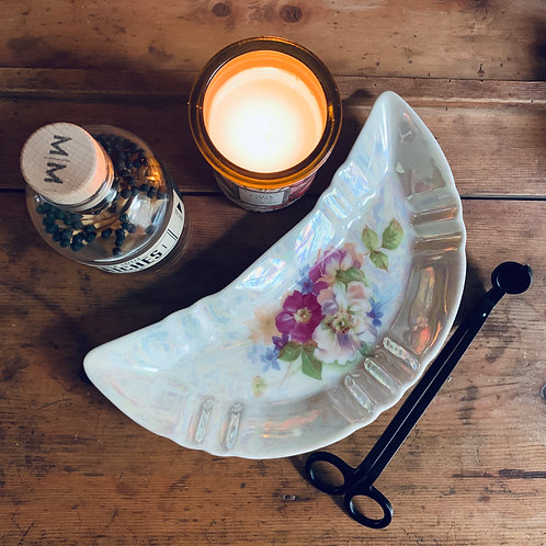 Antique Crescent Moon | Bone Dish | Iridescent Knockout Roses
