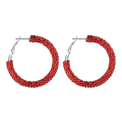 Creole red earrings