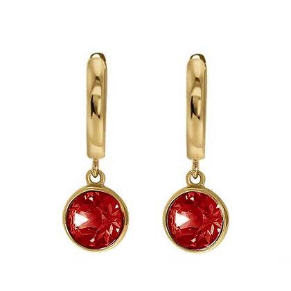 Drop gold red oorbellen
