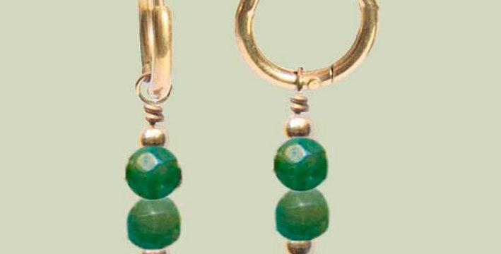 Minimal dark green oorbellen