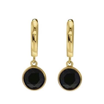 Drop gold black oorbellen