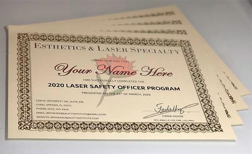 2020 Laser Safety Officer Certificate