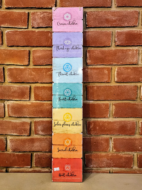 7 Chakra wooden wall plaque