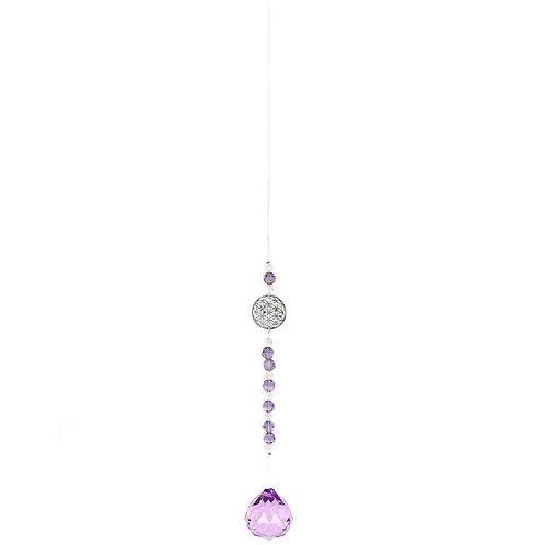 Purple Hanging Flower of Life Crystal Suncatcher