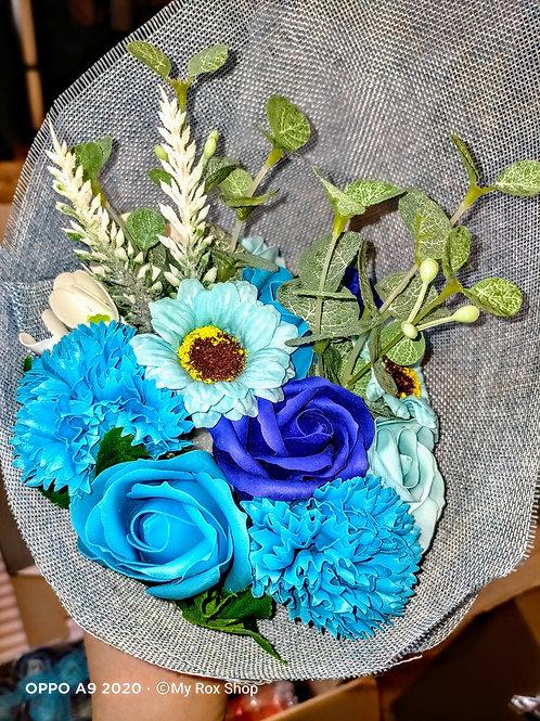 Blue freestanding soap flower bouquet