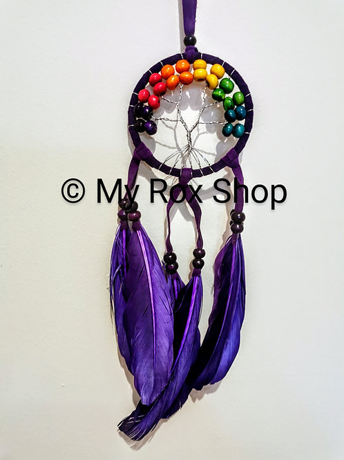 Purple tree of life dream catcher with colourful wooden beads