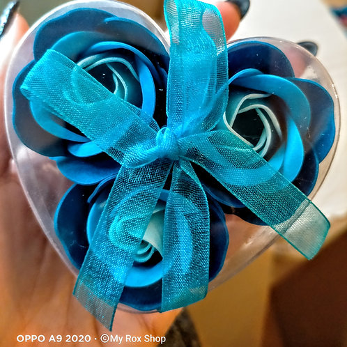 Heart shaped 3 mini soap flower gift set