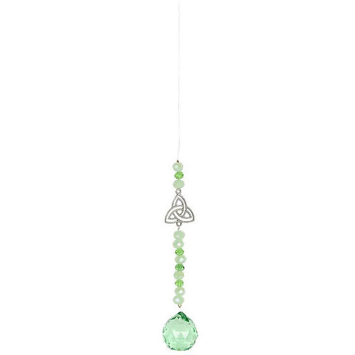 Green Hanging Triquetra Crystal
