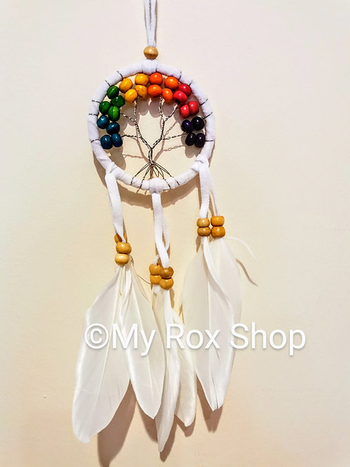 White tree of life dream catcher with colourful beads