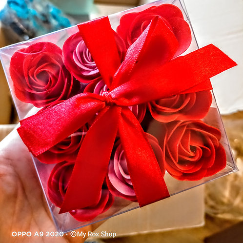 9 mini red soap roses gift pack