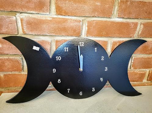 Black Triplemoon Clock