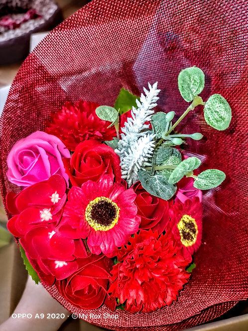 Red freestanding soap flower bouquet