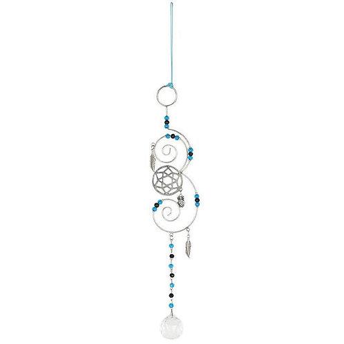 33cmTurquoise Beaded Hanging Crystal Suncatcher