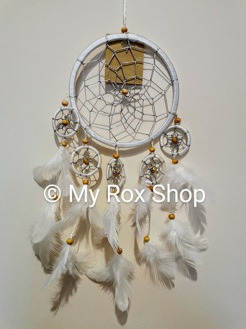 12 cm white & silver dream catcher with wooden beads