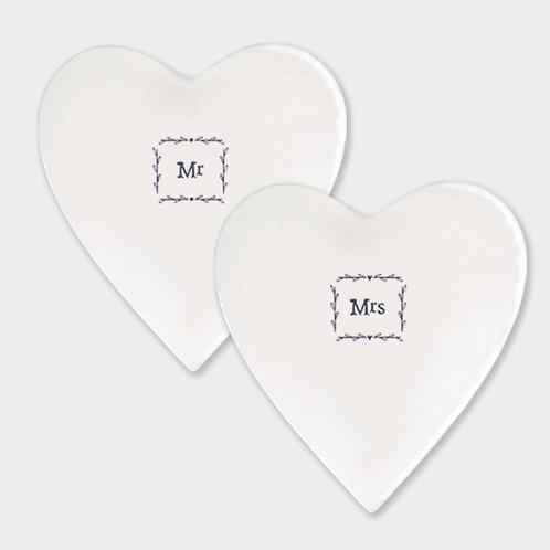 Mr or Mrs porcelain coasters