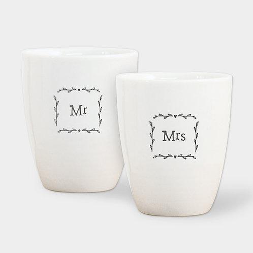 Mr or Mrs porcelain egg cups