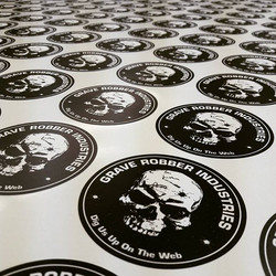 Did I mention that we also do stickers_... Yes we do!!!_Round stickers for Grave Robber Industries