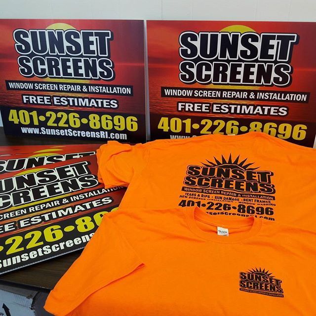 Full color lawn signs and custom t-shirts for Sunset Screens RI