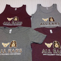 Screenprinted t-shirts and tanks for All Ears Dog Walking and Pet Sitting
