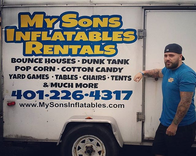 Trailer decals for My Sons Inflatables Rentals. Thank you Ryan for choosing us