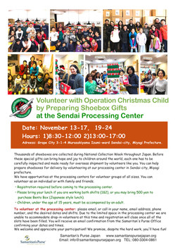Volunteer with Operation Christmas Child by Preparing Shoebox Gifts at the Sendai Processing Center
