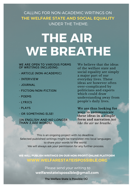 CALLING FOR NON-ACADEMIC WRITINGS ON THE WELFARE STATE AND SOCIAL EQUALITY UNDER THE THEME: THE AIR