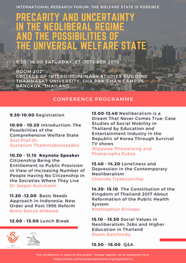 (Past) CONFERENCE PROGRAMME WIP2018: 27 OCTOBER 2018 PRECARITY AND UNCERTAINTY IN THE NEOLIBERAL REG
