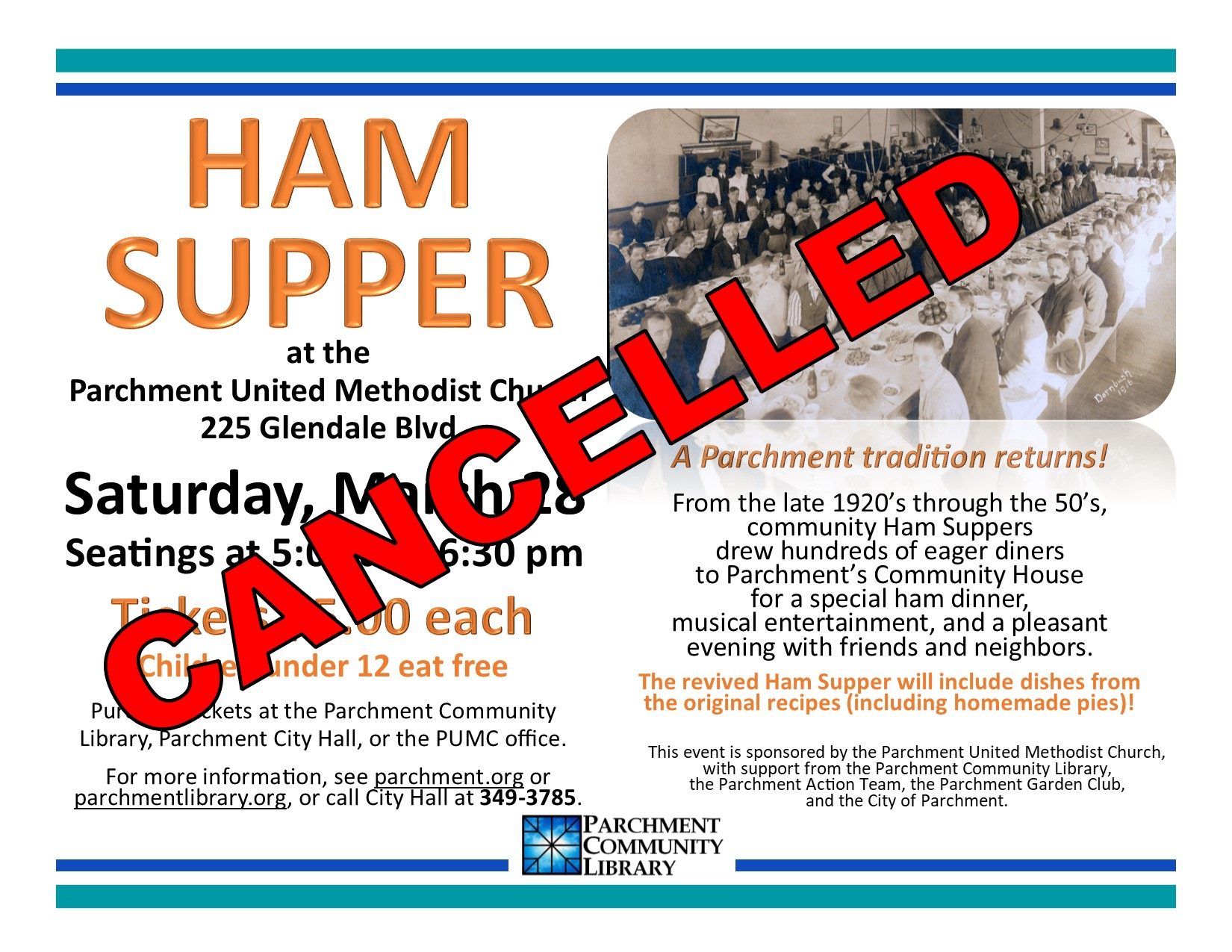 Ham Supper Cancelled