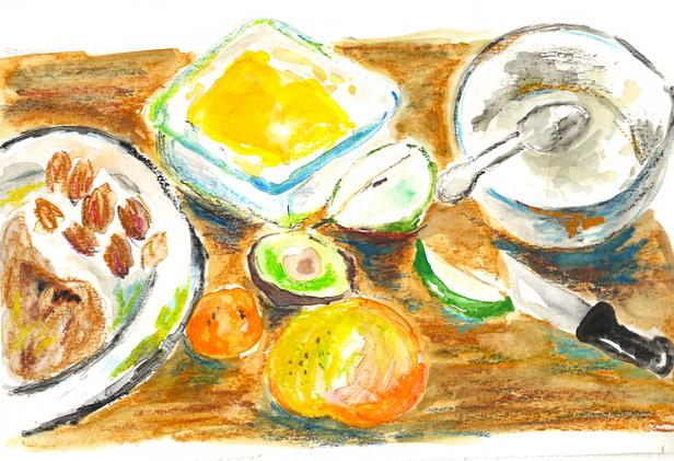 Breakfast in a table
