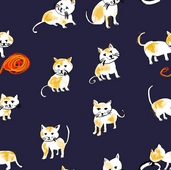 Cat Pattern that I created last year with watercolor and pencil and then printed it in a Fabric. I also have fun pouches in my Etsy shop.