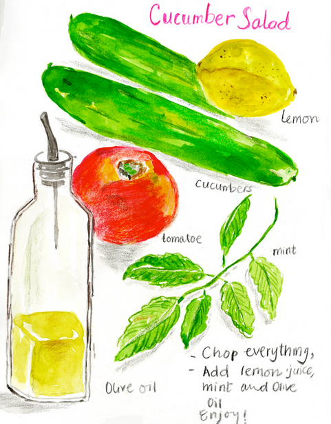 Cucumber Salad Illustration water color with pencil