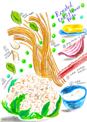 Roasted Cauliflower in Pasta Illustration