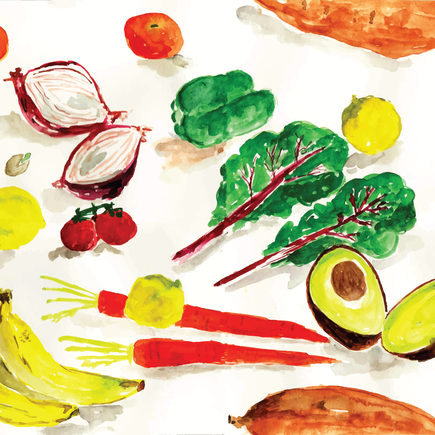 Pattern of Veggies and Fruits