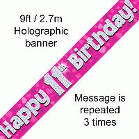 Pink 11th Happy Birthday Party Banner