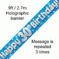 Blue 30th Happy Birthday Party Banner