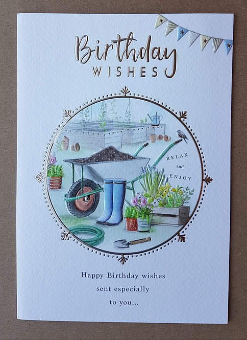 Male Birthday Greeting Card - Wheelbarrow