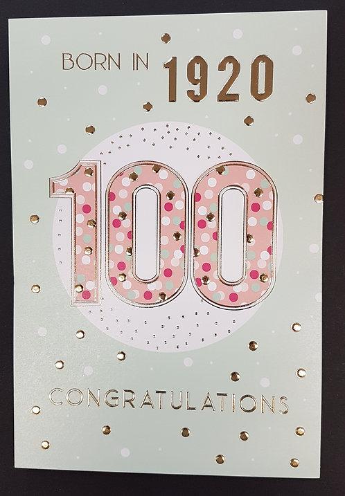 Born in 1920 - Female Age 100 Tri-Fold Card