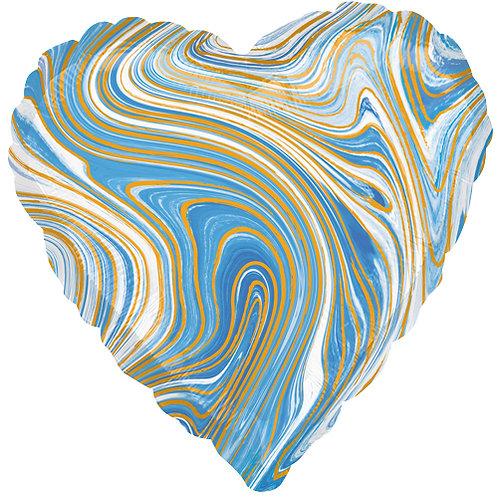 "18"" Marblez Blue Heart -  Anagram Balloon - Helium Filled"