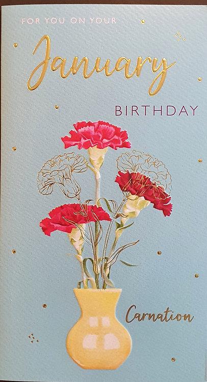 January Birthday Greeting Card - Carnation