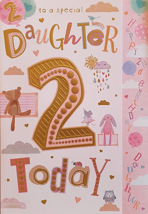 Daughter 2nd Birthday Card
