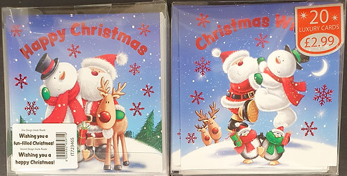 Multipack Box of 20 Luxury Christmas Cards - Cute Small