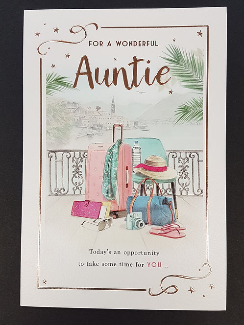 Auntie Birthday Greeting Card With Suitcase