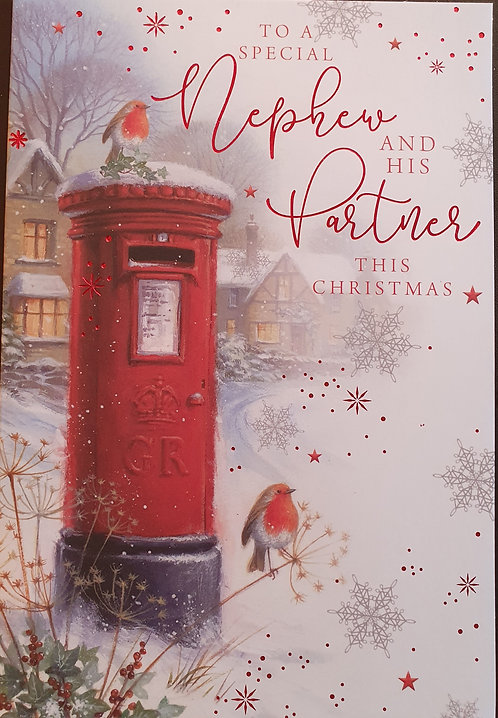 Nephew and Partner Christmas Greeting Card