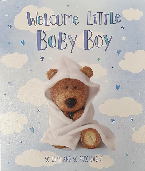 Birth Of A Baby Boy Greeting Card Barley Bear