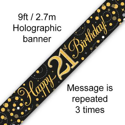 Black And Gold 21st Happy Birthday Party Banner