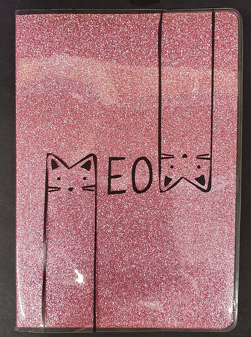 A5 Pink Glitter Notebook With Cats