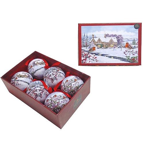 Macneil Christmas Robins Baubles - Set of 6