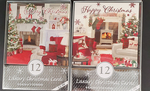 Multipack Box of 12 Luxury Christmas Cards - Stockings Over Fireplace