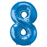 large blue number 8 foil helium balloon